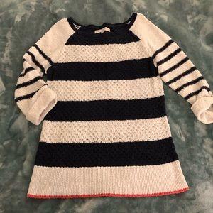 LOFT navy & white striped sweater